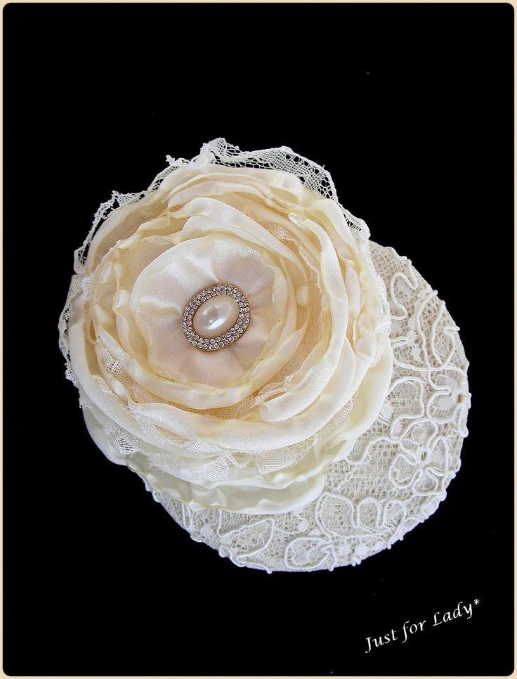 Bibi écru - Superbe dentelle, fleur et cabochon - Mariage, cocktail, cérémonie... Mariée : Chapeau, bonnet par ladyplazza