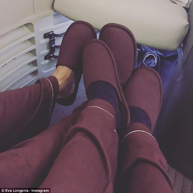 Just the two of us! Eva Longoria and her new husband José 'Pepe' Baston headed off on honeymoon on Monday in matching pajamas and slippers following their Mexican wedding on Saturday