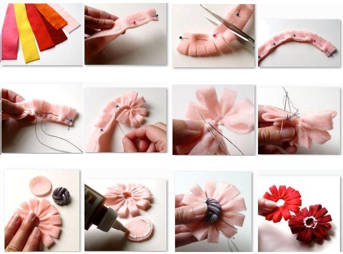 Flores en fieltro manualidades con fieltro moldes y patrones gratis my style pinterest - Manualidades de fieltro paso a paso ...