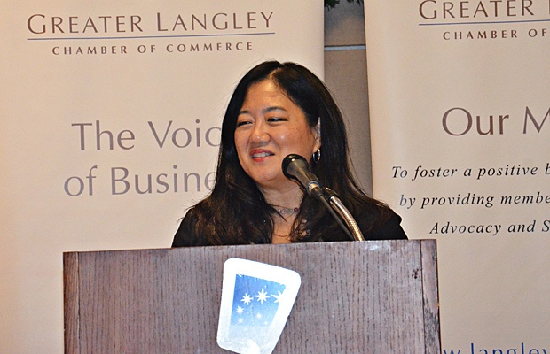 Naomi Yamamoto, Minister of State for Small Business in B.C., spoke in Langley on Tuesday.