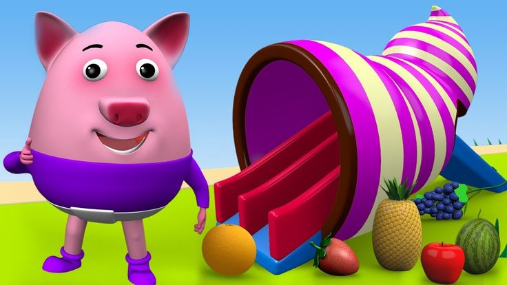 Little Baby Pig Learning Fruits Names with Snail Slider Kids Toys for Ch...