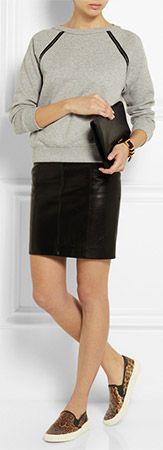SAINT LAURENT Leopard Print-Glossed Leather Slip-on Sneakers