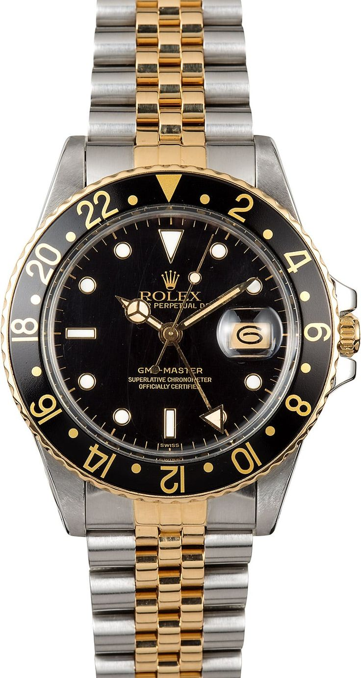 Manufacturer: Rolex Model: GMT-Master 16753 Serial/Year: 8,8XX,XXX - 1985-1986 Grade: (What's This?) II Gender: Men's Features: Automatic 3075 movement w/ date, acrylic crystal, waterproof screw-down crown Case: Stainless steel w/ 18k yellow gold and black bi-directional rotating timing bezel (40mm) Dial: Black w/ luminous hour markers  Bracelet: Stainless steel and 18k yellow gold Jubilee w/ Fliplock clasp Box & Papers: Rolex bo...