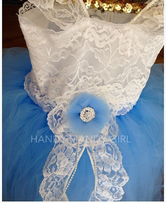 The Sandy dress-baby blue and Ivory Lace flower от HandyMandyGirl