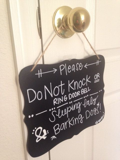 Do Not Disturb: Baby Sleeping! Night shifter - Work From Home Professional - No Soliciting - No Trespassing Signs. The Good Baby is Sleeping Sign: Blackboard Chalk by VillageGoodys