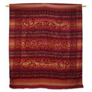 "Ethnic Red Om Print Wall Tapestry Twin Size Home Decor Bed Cover 96"" X 82"""