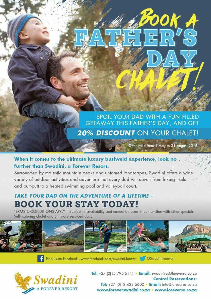 BREAKING NEWS: Spoil dad to a relaxing weekend this Father's Day with out great winter special offers until 31 August 2016! Don't delay, call us today on 015 795 5141 or email our reservations team at swadinires@foreversa.co.za to secure your next breakaway to Swadini, a Forever Resort! T's & C's Apply Have a great day, Team Swadini