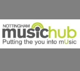 Nottingham Music Hub  Like the contrast of lime green with grey. very simple logo idea using the i as a microphone. Sans serif typeface making it easy to read