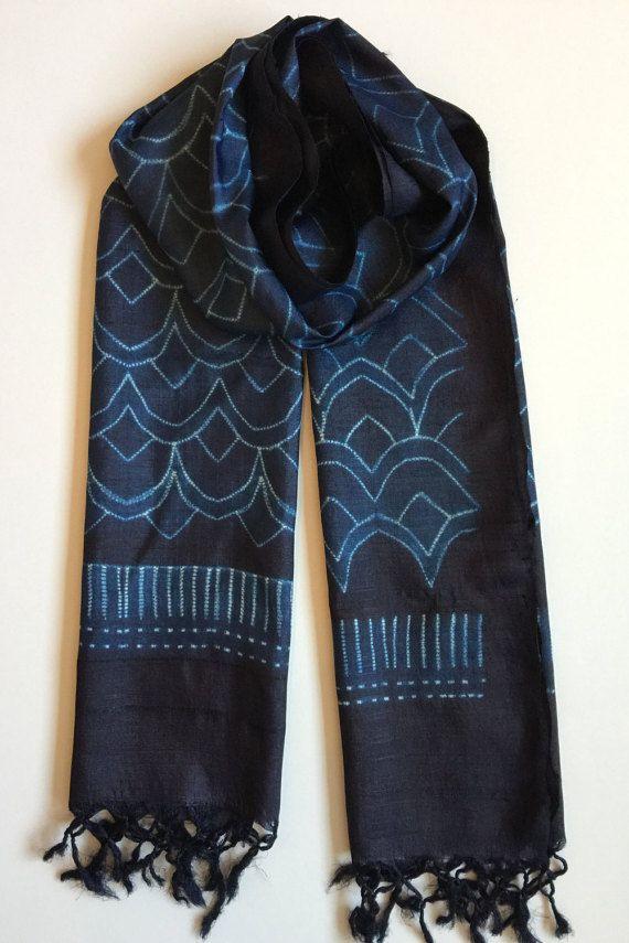 Shibori Scarf/ Silk Scarf/ Shibori Dyed Silk by FolkloricaWorld