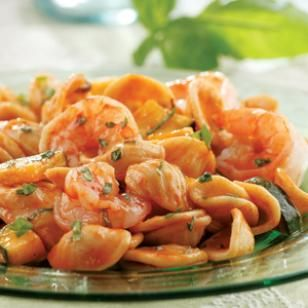 Basil, Shrimp & Zucchini Pasta  This quick-cooking, healthy dinner is a simple combination of zucchini, shrimp and pasta flecked with plenty of fresh basil.  @eatingwell #diet