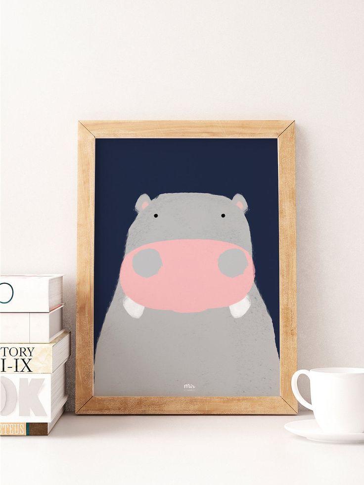 Hipopótamo Feliz - Acuarela Ilustración Habitación niños niño niña - Regalo Bebé - Animal Nacimiento Osito Peluche Embarazo Deco Decoracion de MyNameIsMir en Etsy