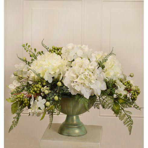 Silk Hydrangea Centerpiece in Bowl