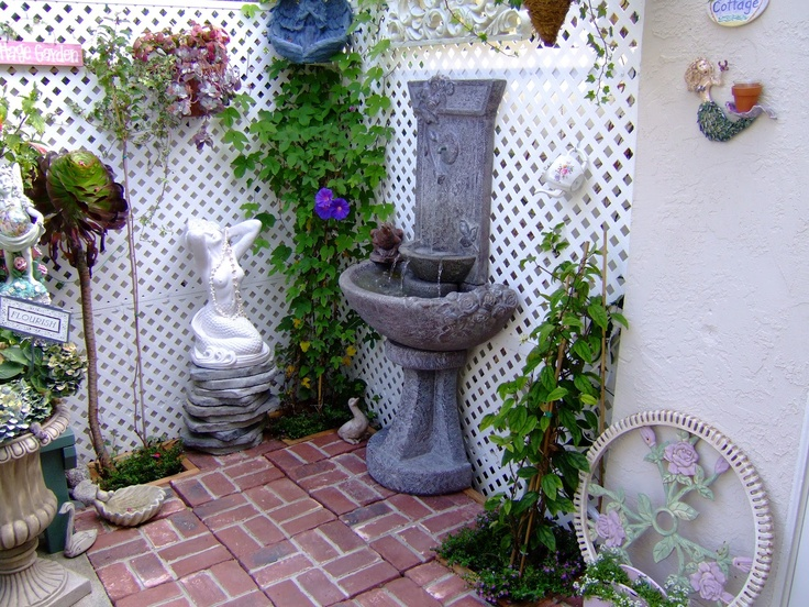 our former beach condo patio my hubby laid the brick and installed the fountain and