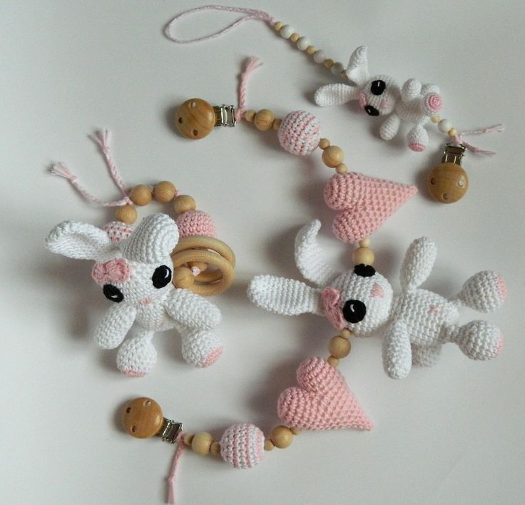 Gift set for newborn Rabbit stroller toy Pacifier holder Teething toy Crochet rabbit baby rattle Baby shower gift for baby girl by PatiikCrochet on Etsy