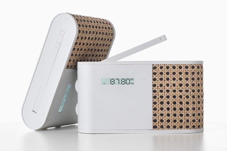 hybrid smart radio by mathieu lehanneur for lexon clad in woven rattan