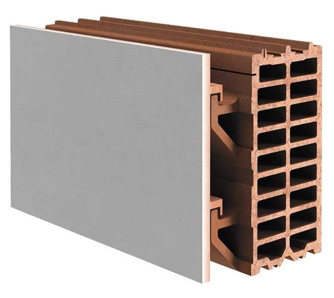 detalle del bloque cermico y la hoja exterior de fachada de placa de gres