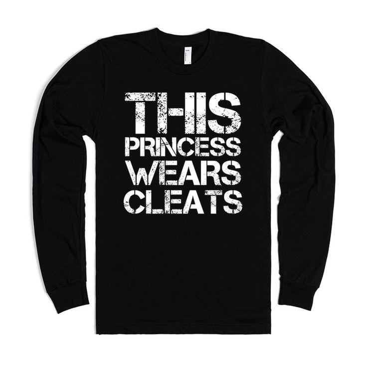 This Princess Wears Cleats, Soccer, Softball, Black Tee