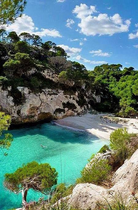 Beach with emerald waters in Corfu