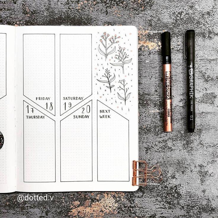 """V on Instagram: """"Floral doodles for Week 3 ▪▪▪ #bujo #bulletjournal #beforethepen #handwritten #nuuna #showmeyourplanner #art #bulletjournalss…"""