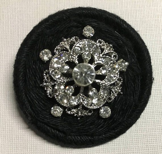 Dorset Button Brooch  black and bling