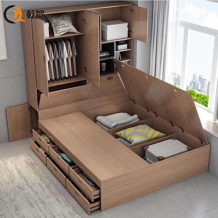 Best Storage Small Apartment Drawer Bed Cabinet Integrated 640 x 480