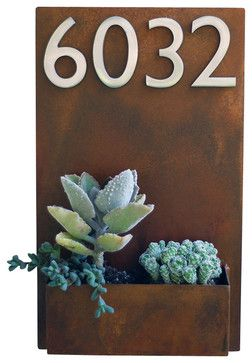 """Metal Wall Planter & Address Plaque - 20"""" x 12"""" Vertical, Rust, With Numbers - Midcentury - House Numbers - Urban Mettle"""