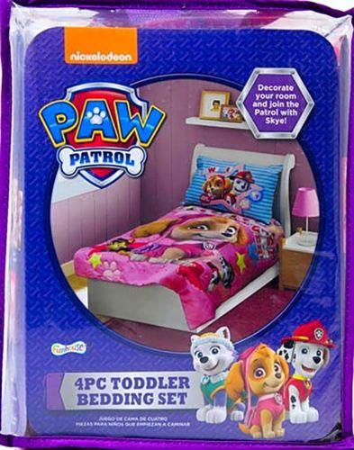 BabyBoom Girls room PAW Patrol Skye Best Pups Ever 4Psc Toddler Bedding Pink NEW | eBay
