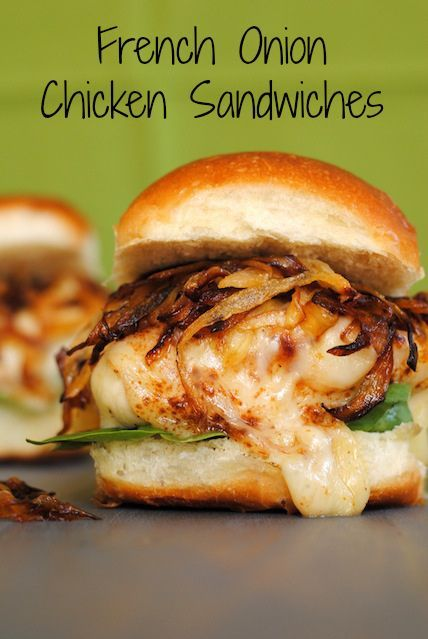 Oh So Yummy French Onion Chicken Sandwiches!  These would be great to throw together for a party or just for dinner!  They are super easy to make and will definitely be a crowd pleaser!