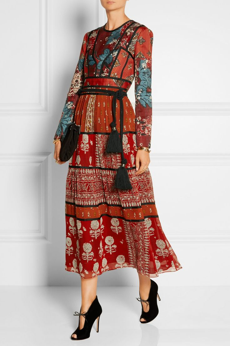 Burberry Prorsum | Paneled printed canvas and silk-georgette midi dress |  NET-A