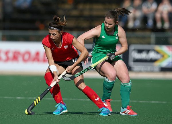 Natalia Wisniewska of Poland and Lizzie Colvin of Ireland battle for possession during day 3 of the FIH Hockey World League Semi Finals Pool A match between Ireland and Poland at Wits University on July 12, 2017 in Johannesburg, South Africa.