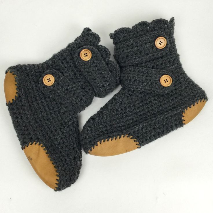 Women's Crochet Dark Gray Slipper Boots with Leather Soles, Crochet Slippers, Ankle Booties, Knitted House Shoes, Dark Grey Slipper Boot by StardustStyle on Etsy https://www.etsy.com/listing/228987675/womens-crochet-dark-gray-slipper-boots