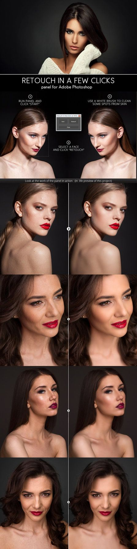 DOWNLOAD:  goo.gl/Z4zPuh Features:Quickt retouch by two color masks Auto Dodge & Burn Digital Texture Smart Contrast Run by hotkey Easy installation Requirements:Panel available for...
