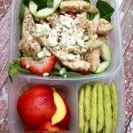 """Grown-up Lunch via IPACKLUNCH.COM: A salad of spinach, strawberries, cucumbers, chicken and feta cheese was served with an all natural poppyseed dressing (not pictured). Alongside is one nectarine cut up and 20 snap pea crisps (**replace with """"kroepoek sticks""""). This is a lighter lunch maybe add additional chicken and maybe some almonds if you have a heavier appetite!"""