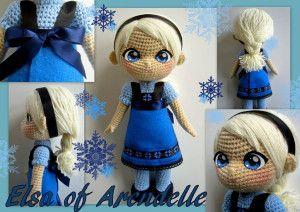 Patrón gratis amigurumi de Preciosa Elsa de Frozen.