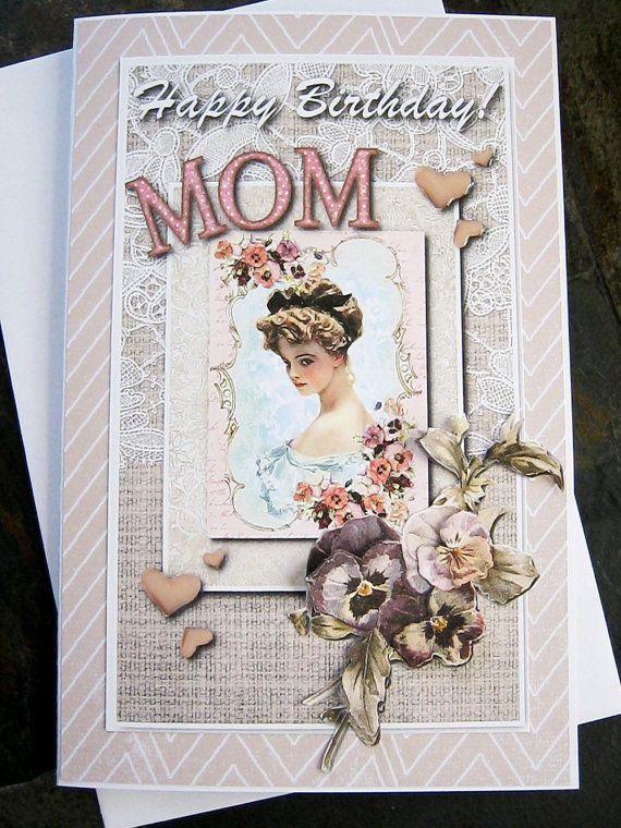 Mom Birthday Card Happy Birthday Wishes Birthday by littledebskis