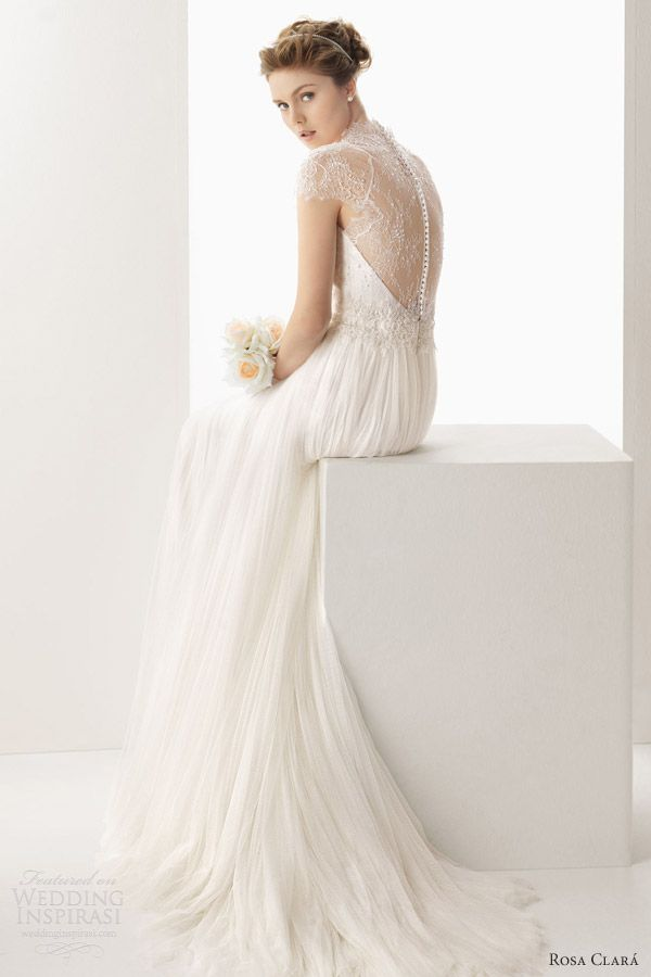 rosa clara 2014 soft wedding dresses unax scalloped cap sleeve lace back gown