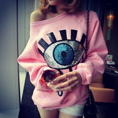 Special offer Pink Pullover Women 2017 Fall Winter Cute Eyes Sequined O Neck Long Sleeve Warm Fleeced Sweatshirts Japanese Kawaii Clothes T11 just only $14.99 with free shipping worldwide  #womanhoodiessweatshirts Plese click on picture to see our special price for you