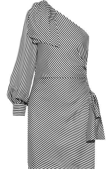 Zimmermann - Maples Bow One-shoulder Ribbed Striped Mini Dress - Black