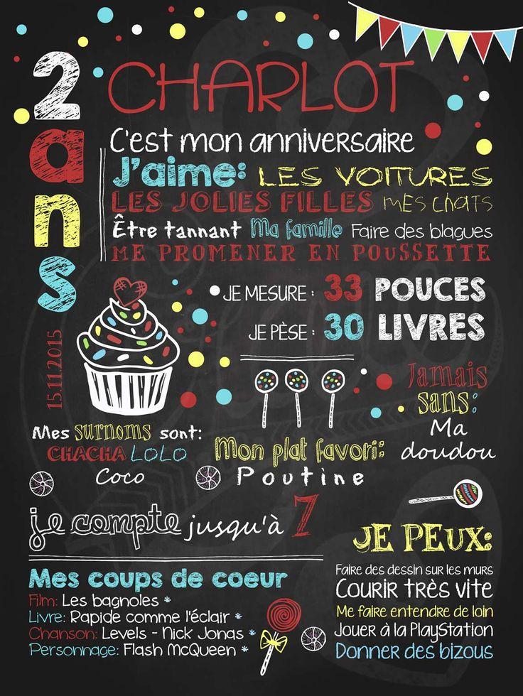 Affiche personnalisée anniversaire 2 à 5 ans Petit gâteau et confettis (rouge) | 28,00$ #chalkboard #lacraieco