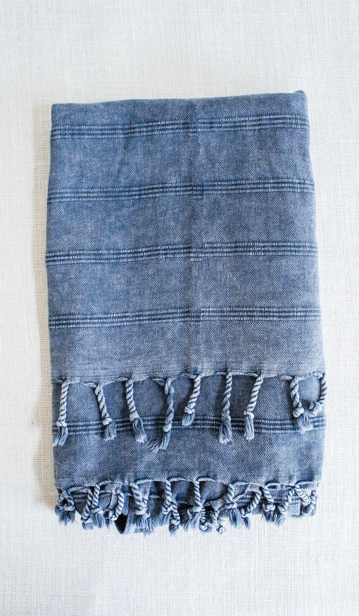 stonewashed turkish towel black - Turkish Towels