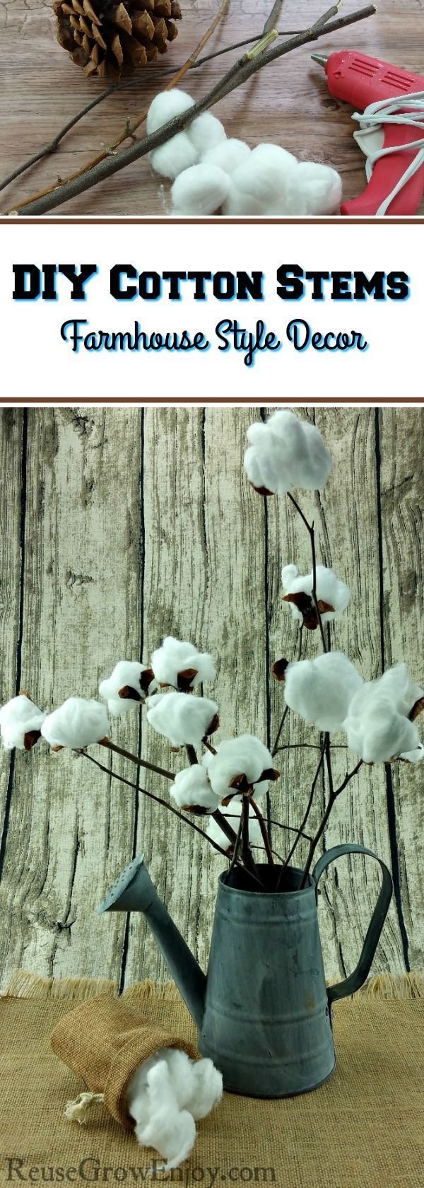 Did you know that making your own farmhouse style cotton stem is super easy and cheap? Click over and I will show you how to make this DIY cotton stem…