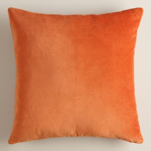 One of my favorite discoveries at WorldMarket.com: Burnt Orange Velvet Throw Pillow
