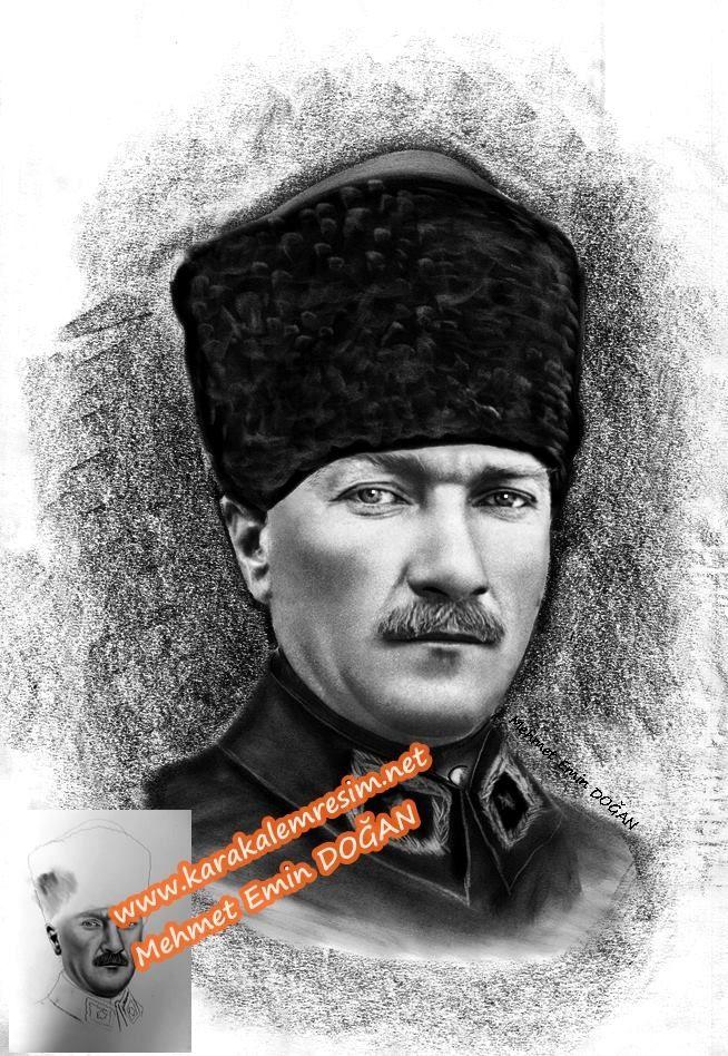 Düşük çözünürlüklü Atatürk fotoğraflarının,karakalem çizilerek netleştirilmesi | KARAKALEM RESİM