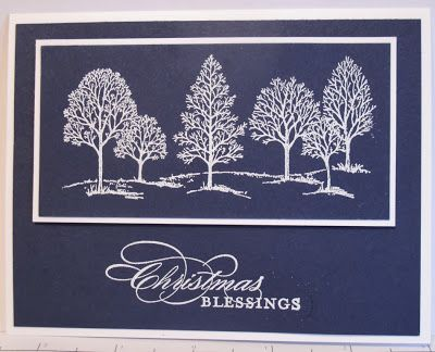 handmade Christmas card from In My Craft Room  ... navy paper with whtie embossed trees from Lovely as a Tree ... luv the formal look ... Stampin' Up!