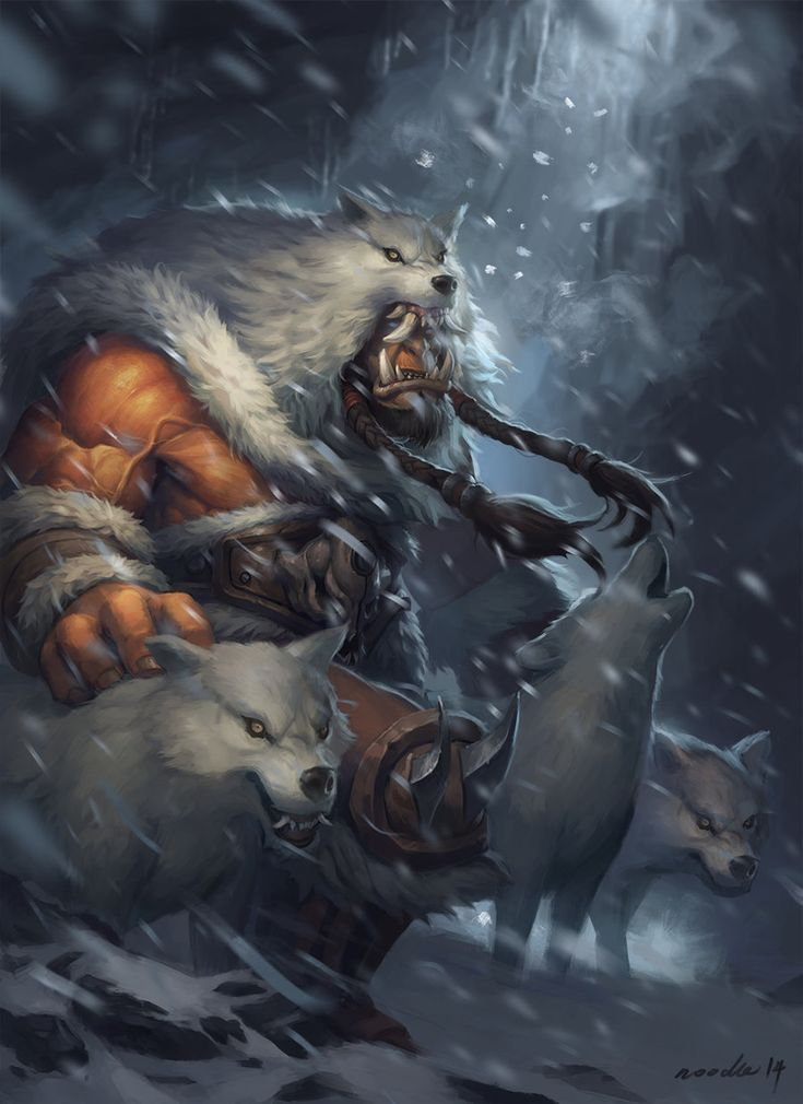 Shelter from the snow by noodleli on deviantART illustration, digital, orc, wolf