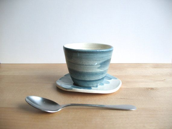 Coffee cup and saucer set Wheel thrown pottery  by BiscuitCuit, €20.00