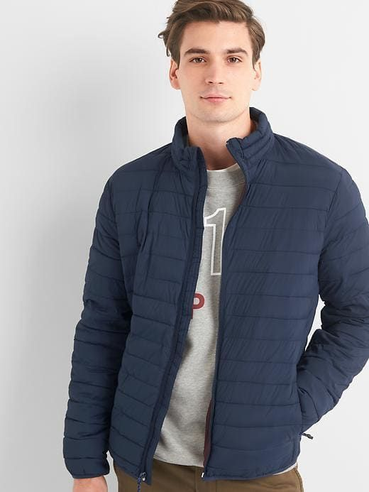 Gap Mens Coldcontrol Lite Puffer Jacket Tapestry Navy African