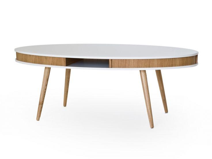 HUGO Soffbord Oval 140 Vit/Ek i gruppen Inomhus / Bord / Soffbord hos Furniturebox (100-13-75424s)
