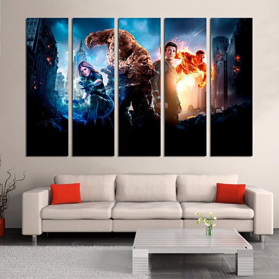 The Fantastic Four Comic Wall Decor   Superhero Team Large Canvas Print    Fantastic Four Characters Wall Decor   Marvel Movies Canvas Art #Home #Décor  #Wall ... Part 89