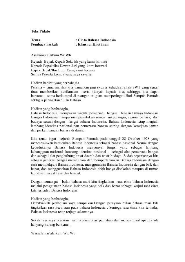 Teks Pidato Tema : Cinta Bahasa Indonesia Pembaca naskah ...